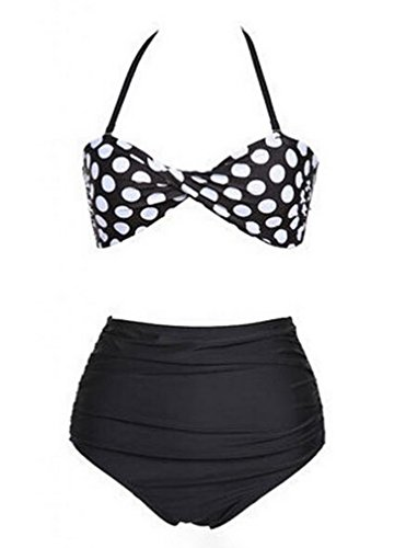 Women's Vintage Style Two Pieces Twist Polka Bikini Swimsuit Swim Beach Wear image