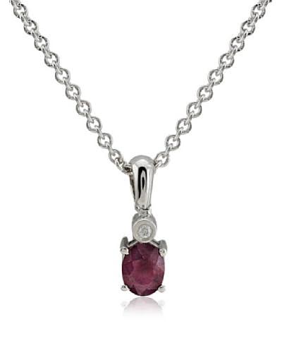 Divas Diamond Conjunto de cadena y colgante Diamond Ruby plata de ley 925 milésimas