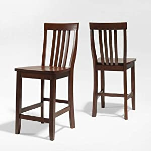 Crosley Furniture School House Bar Stool, Classic Cherry with 24-Inch Seat Height, Set of 2