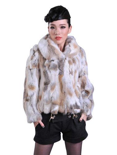 Bafei Women's Short Real Rabbit Fur Coat Hoodie Jacket with Pocket (S, Nature Brown)