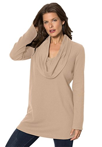 Roamans Women's Plus Size Thermal Cowl Neck Tunic New Khaki,1X (Cowl Sweater Plus Size compare prices)