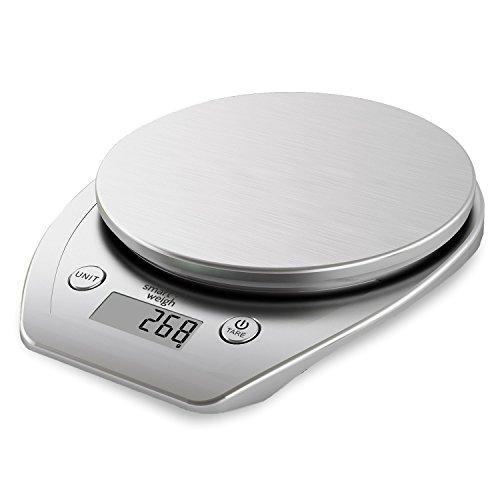 Smart Weigh Balance Alimentaire et de Cuisine Numérique Multifonctions avec une Plate-forme en Acier Inoxydable, un Grand Écran LCD et Six Modes de Pesage, 5 kg/11 lb x 1 g/0.1 oz