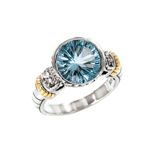 14K Yellow Gold and Sterling Silver Blue and White Topaz Ring, Size 9.5