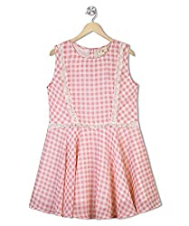 Budding Bees Girls Pink Printed Fit & Flare Dress