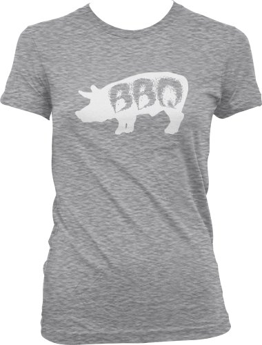 Pig BBQ Ladies Junior Fit T-Shirt, Funny Barbecue Bar-B-Que Pig Design Junior'S Tee