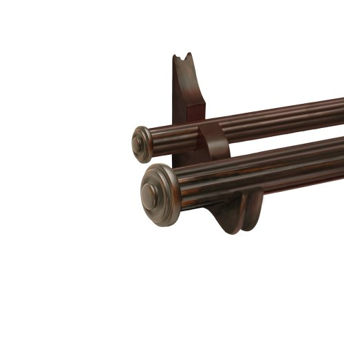 Designer Hardware End Cap 8-Feet Double Drapery Rod Set In Walnut Finish With 2-Inch And 1-3/8-Inch Fluted Wood Poles And Decorative Resin Finials front-1054878