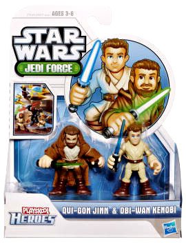 Star Wars 2011 Playskool Jedi Force Mini Figure 2Pack QuiGon Jinn ObiWan Kenobi