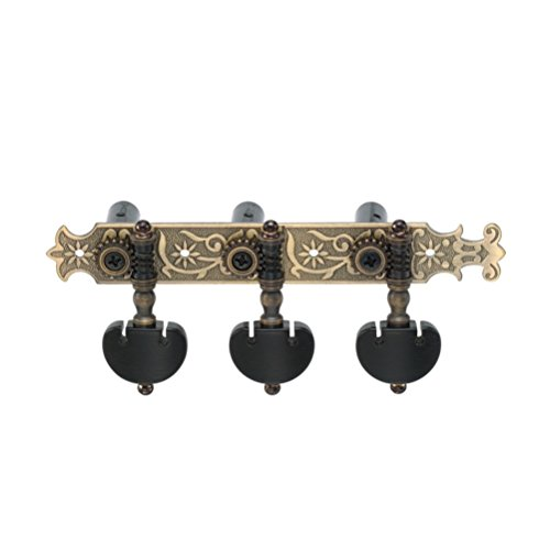 DJ200AB-P6B TENOR Classical Guitar Tuners Professional Tuning Key Pegs/Machine Heads for Classical or Flamenco Guitar in Antique Brass.