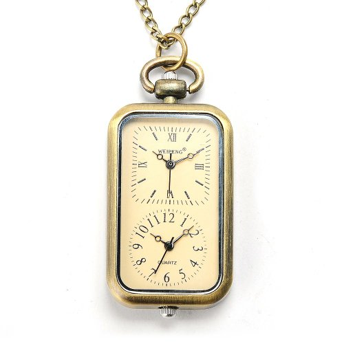 AMPM24 Brass Yellow Oblong Pendant Pocket Women Lady Mens Necklace Quartz Watch Chain