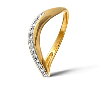 Ariel 9ct Yellow Gold Pave Set Diamond Wave Half Eternity Ring