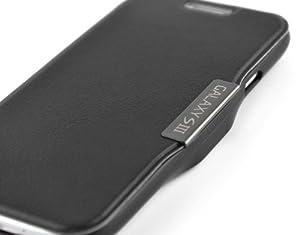 Black Leather Wallet Flip Case & Film for Samsung Galaxy S3 - MOVIE STAND GENUINE JAMMYLIZARD