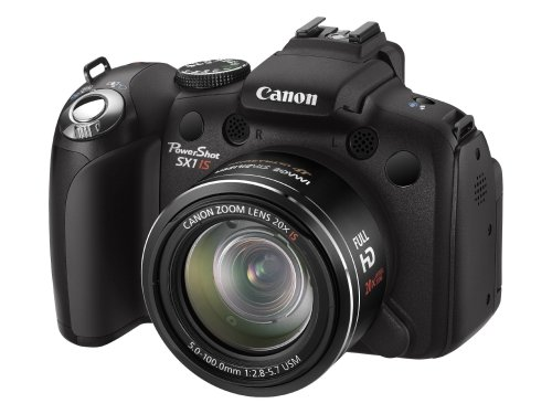 Canon PowerShot SX1 IS Digital Camera - Black (10MP, 20x Optical Zoom) 2.8 inch LCD
