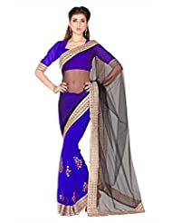 Designersareez Women Black & Blue Net & Faux Georgette Saree With Unstitched Blouse (1786)
