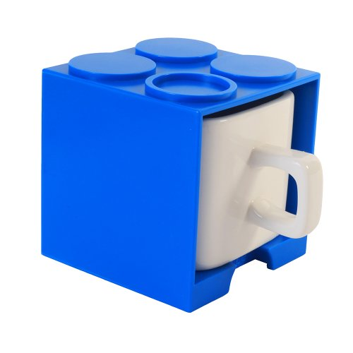 Cube Mug (Blue), Stackable Coffee Mug, Ceramic Mug With Plastic Cube
