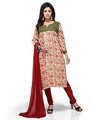 Orange And Green Embroided Cotton Churidar Kameez