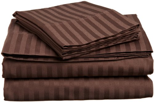 For Sale! ITALIAN STRIPED 4PC QUEEN Sheet Set, CHOCOLATE