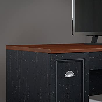 Fairview L Shaped Desk with Hutch and 5 Shelf Bookcase