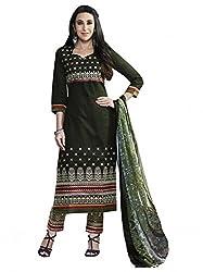 SR Women's Cotton Unstitched Dress Material (Black Top Bottom Duptta )