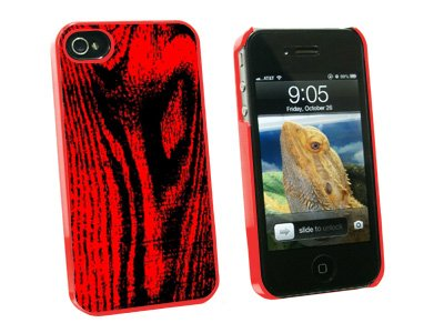 Wood Grain Red - Snap On Hard Protective Case for Apple iPhone 4 4S - Red