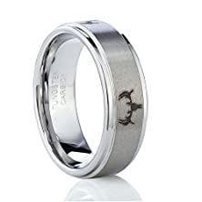 buy Tusen Jewelry Deer Head Hunting 8Mm Men Tungsten Carbide Wedding Band Engagement Ring Size 7-13