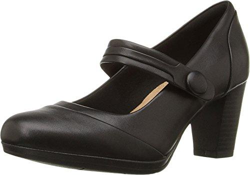 Clarks Women's Brynn Mare Dress Pump, Black Leather, 7 M US