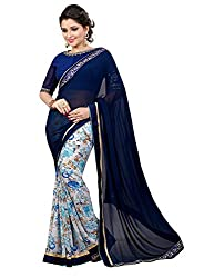 Pramukh saris Womens Georgette Thread Work Sari (Blue)