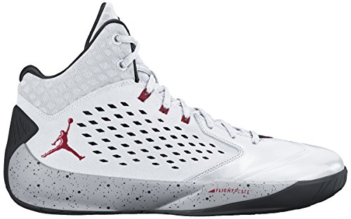 Nike Jordan Men's Jordan Rising High White/Gym Red/Wolf Grey/Black Basketball Shoe 10 Men US