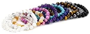 Genuine Gemstone 8mm Beaded Bracelets, Set of 10