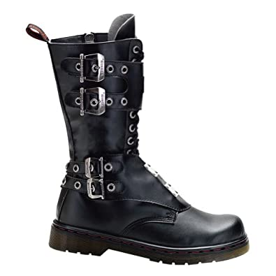 MENS Gothic Boots Combat Boot Style Calf Boot Buckles Steel Plate Panels Size: 4