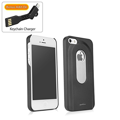 iPhone SE Case, BoxWave® [DrinkMate Case with BONUS Keychain Charger] Novelty Phone Cover with Retractable Bottle Opener for Apple iPhone SE, 5s, 5 - Jet Black (Bottle Opener Phone Charger compare prices)
