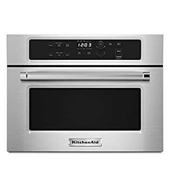 Kitchenaid kmbs104ess 24 built in microwave for Microwave ovens built in with trim kit