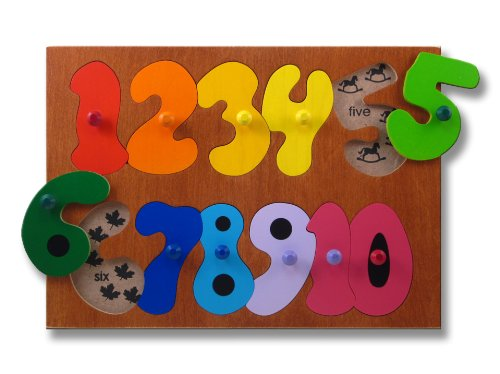 Picture of KidPuzzles Kids Wooden Counting Numbers Puzzle (B00564HMHE) (Pegged Puzzles)