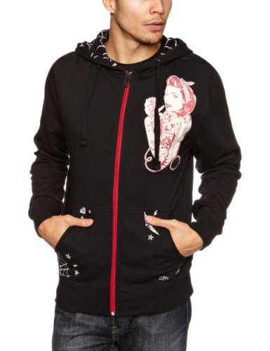 Iron Fist Mic Checker Zip Hoodie Men's Sweatshirt Black Small
