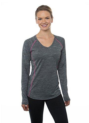 RBX Active Women's Space Dye Long Sleeve V-Neck Tee Shirt Black L