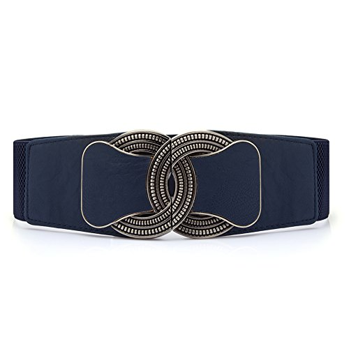 TopTie Fashion Girdle Carved Metal Buckle Waist Belt NAVY-SM