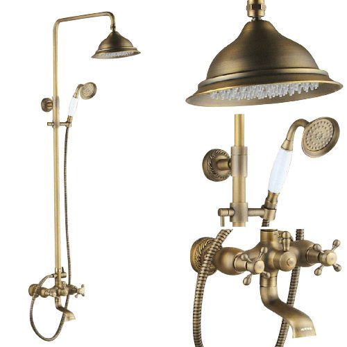 Rozinsanitary Shower Faucet System Antique Brass Tub Mixer Tap With Shower Heads