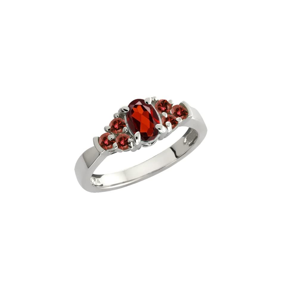 0.79 Ct Oval Red Garnet and Cognac Red Diamond Sterling Silver Ring