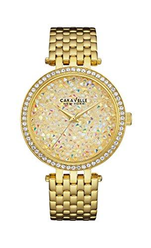 Caravelle New York 44L184 - Reloj analógico de cuarzo para mujeres, correa de acero inoxidable, color dorado