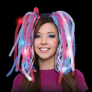 Fun Central O553 LED Light Up Party Dreads - Red, White, Blue (Light Up Blue Headband compare prices)