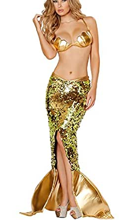 C.X Trendy Golden Mermaid Costume Sexy Party Dress for Women