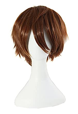MapofBeauty Short Brown Party Hair Costume Cosplay Wig