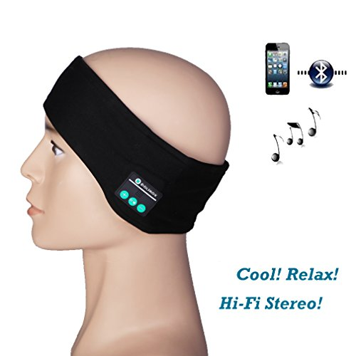 DOLIROX® Washable Wireless Bluetooth Matel Silk Fabric Music Running Headband Hands-free Phone Call Answer Ears-free Headband With Built-in Speakders and Mic-2015 Upgrade Version (Headband Black B)