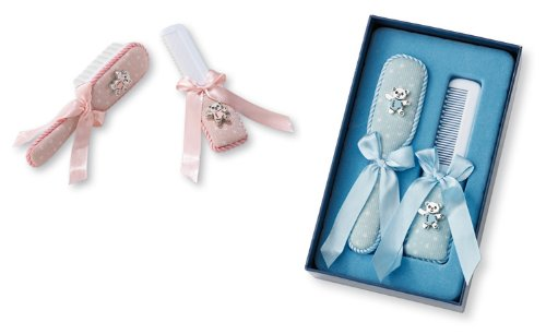 BABY HAIR BRUSH and COMB Gift SET in STERLING SILVER. Made in ITALY. (BLUE, PINK) (BLUE)