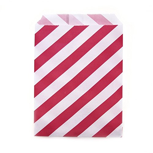 Dress My Cupcake 24-Pack Party Favor Bags, Striped, Red (Popcorn Bag Cupcake compare prices)