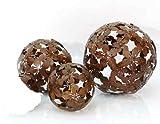 3er-Set Dekokugeln Gartenkugel Blume Metall braun - D15