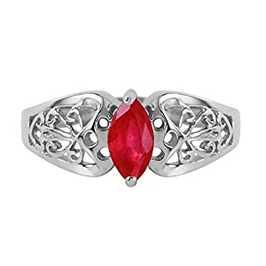 0.2 Carat 14k Solid White Gold Filigree Ring with Natural Marquis-shaped Ruby - Size 11