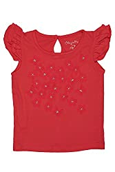 Chirpie Pie by Pantaloons Girl's Round Neck T-Shirt (205000005653868, Red, 9 - 12 Months)