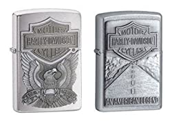 Zippo Lighter Set - Harley Davidson Made in the USA and American Legend Pewter Emblem Logo, Pack of Two