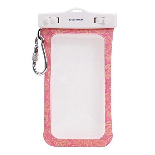 オウルテック 防水・防塵ケース もしもの時でも安心メーカー保証 iPhone 6s / 6sPlus等対応 最高級保護レベルIP68取得 ネックストラップ カラビナ付 ペイズリー柄 ピンク OWL-WPCSP03-PA1