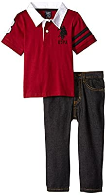 U.S. Polo Assn. Boys' Jersey Rugby Style Polo and Denim Jean
